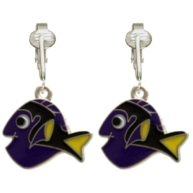 Unique & Fun Fish Clip-on Earrings for Girls, Kids, Adults- Turtles, Starfish, Ocean Style w Pierced Look (Purple Fish)