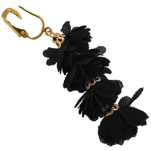 Clip Earring Shop-Clip On Tassel Earrings-Dangle Clip On Earrings Silk Tassel Long Clip Earrings Bohemian (Black Tassel Flowers)