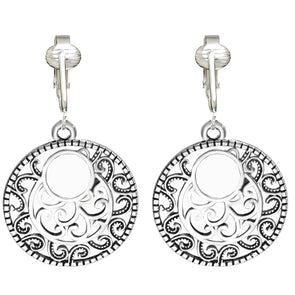 Aloha Earrings Silver Filigree Hoops/Drop Clip On Earrings for Women & Clip-ons, Silver Unpierced Earrings Dangle