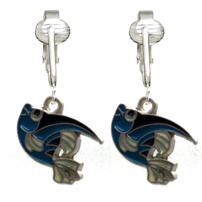 Unique & Fun Fish Clip-on Earrings for Girls, Kids, Adults- Turtles, Starfish, Ocean Style w Pierced Look (Blue Fish)