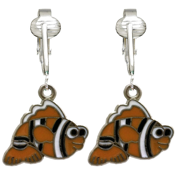 Unique & Fun Fish Clip-on Earrings for Girls, Kids, Adults- Turtles, Starfish, Ocean Style w Pierced Look (Nemo Fish)