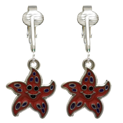 Unique & Fun Fish Clip-on Earrings for Girls, Kids, Adults- Turtles, Starfish, Ocean Style w Pierced Look (Starfish)
