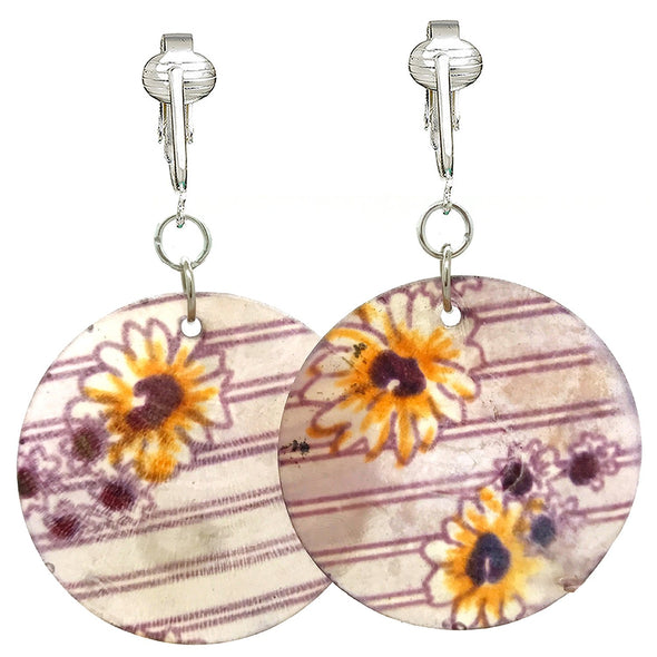 Modern Shell Clip On Earrings-Silver-Plated Comfort Clips for Non-pierced Ears, Chic, Fun & Big Unpierced (Striped Daisies)