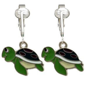 Unique & Fun Fish Clip-on Earrings for Girls, Kids, Adults- Turtles, Starfish, Ocean Style w Pierced Look (Purple Fish) (Green Turtle)