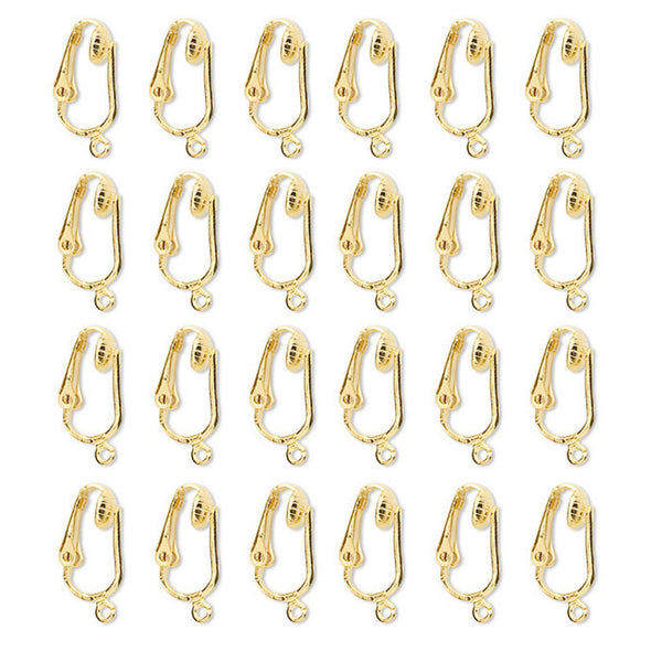 Gold, Silver Clip On Earring Converter Kit-12, 24 Pair Clip Earring Findings, Dangle Earring Converters (Gold/Silver 12 Pairs & Booklet)