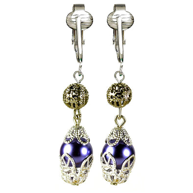Monet-Style Clip Earrings for Women-Victorian Earrings Unpierced Vintage Clip Earring Glass, Filigree, Dangle (Vintage Purple Pearl)
