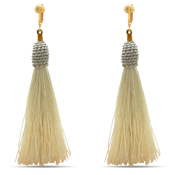Clip Earring Shop-Clip On Tassel Earrings-Dangle Clip On Earrings Silk Tassel Long Clip Earrings Bohemian
