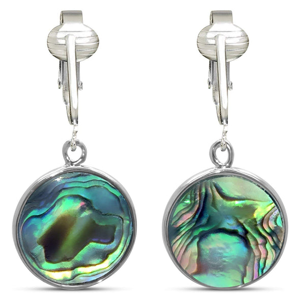 Tahitian-Style Abalone Paua Shell Clip On Earrings-Authentic Ocean Shells Romantic Holiday, Authentic