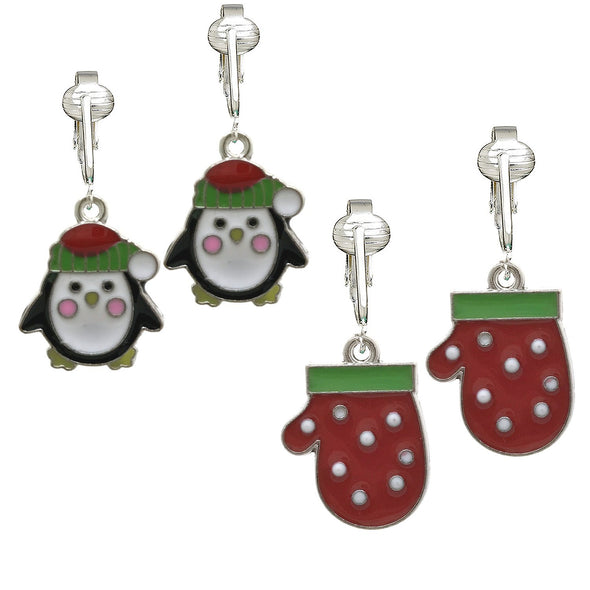 Fun Christmas Clip-on Earrings for Girls, Kids-Winter Snowflake, Skates, Hats n Mittens, Snowman, Penguin (Penguins & Mittens)