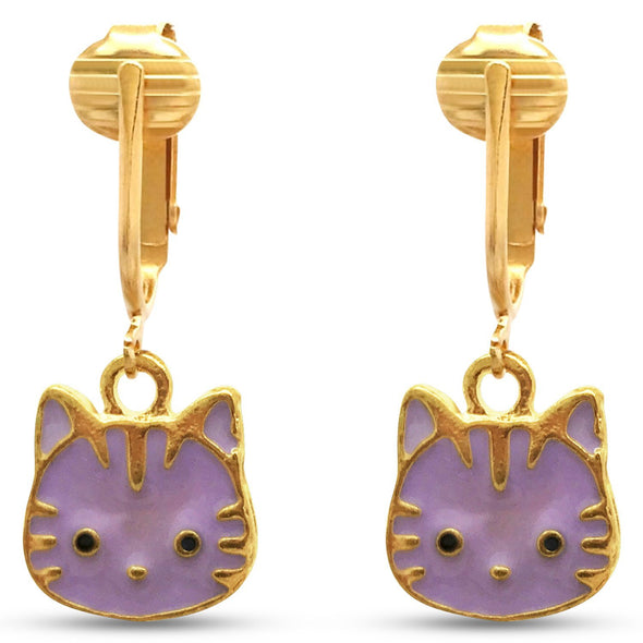 Cute Cats Clip On Earrings for Girls, Kids, Ladies- Hand-painted Metal Charms w Adjustable Comfort Clips