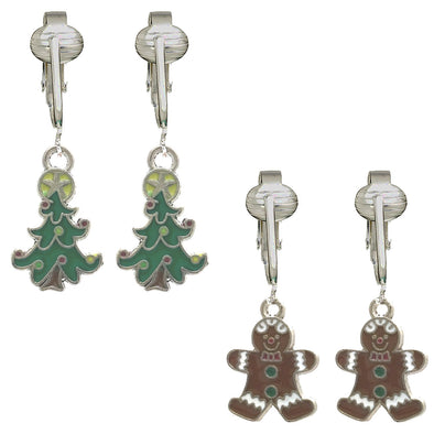 Aloha Earrings Fun Christmas Clip-on Earrings - Santa, Reindeer, Elf, Tree, Gingerbread Unpierced Ears