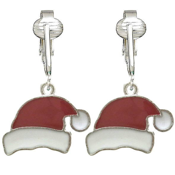 Fun Christmas Clip-on Earrings for Kids, Girls- Santa, Reindeer, Elf, Tree, Gingerbread Unpierced Ears
