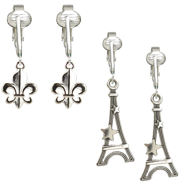 Silver Fleur De Lis French Clip On Earrings & Eiffel Tower Clip Earrings for Women, Girls- Paris Design