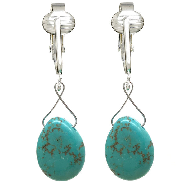Trendy Turquoise Clip On Earrings for Women, Girls- Teardrop & Cube Clip-on Earrings w Pierced Look, Clip