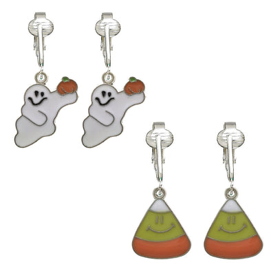 Fun Halloween Clip On Earrings for Girls, Kids, Women-Witch Hats, Ghosts, Candy Corn, Pumpkins- Unpierced