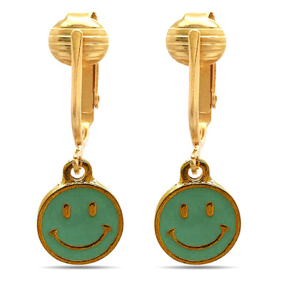 Fun Gold Tone Clip Earrings for Kids-Kids Clip On Earrings, Clip-on Earrings for Kids, Charms Unpierced (Blue Smiley Face)