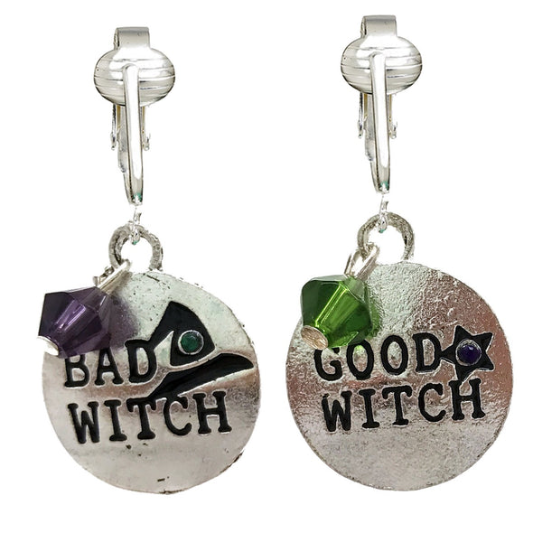 Fun Bright Halloween Clip On Earrings Ladies & Girls-Ghosts, Candy Corn, Bats, Witches, Pumpkins, Skulls