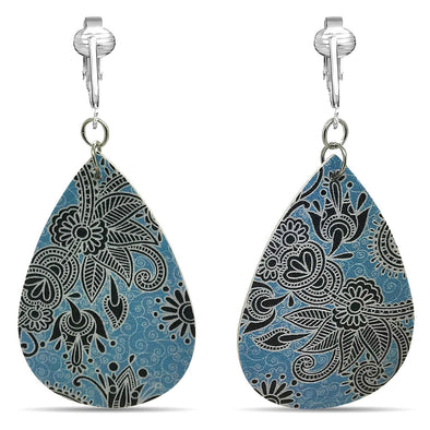 Aloha Earrings Faux Leather Clip Earrings Teardrop Leaf Earrings for Women-Lightweight, Colorful Clipons, Trendy Drop