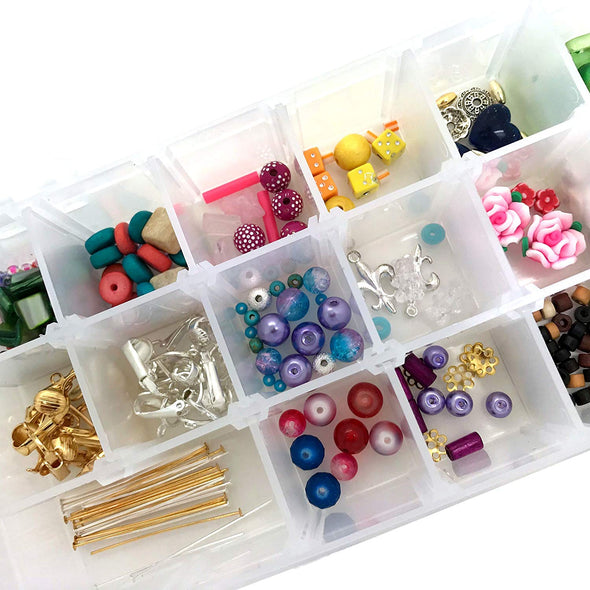 Make Your Own Clip-on Earrings Jewelry Kids Kit-Supplies, Findings w Beads, Unpierced Clips, How-to-Booklet