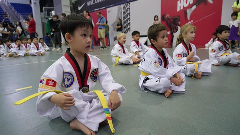 Children are attending Taekwondo Class in Korea Taekwondo Cheung Do Kwan