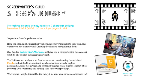 """Screenwriter's Guild: A Hero's Journey"" Storytelling, Creative Writing, Narrative & Character Building Course (Ages 11-14, Central)"