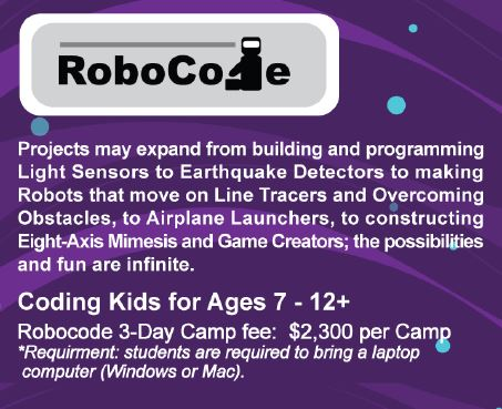 ActiveKids Summer Camps 21: RoboCode 3-Day Camps – For Ages 7 - 12
