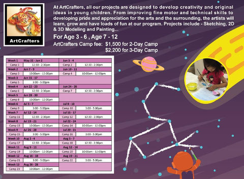 ActiveKids Summer Camps 21: ArtCrafters 2-Day / 3-Day Camp -  for Ages 3 – 6, and Ages 7 – 12