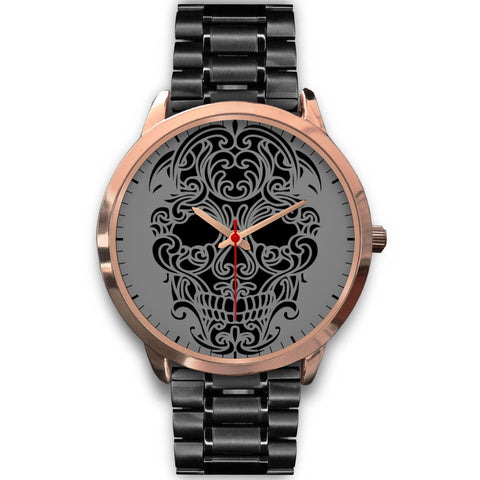 Sugar Skull Watch Black Metal Band