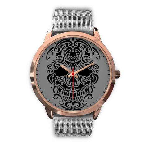 Sugar Skull Watch Silver Metal Mesh Band