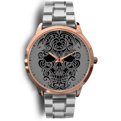 Sugar Skull Watch Silver Metal Band
