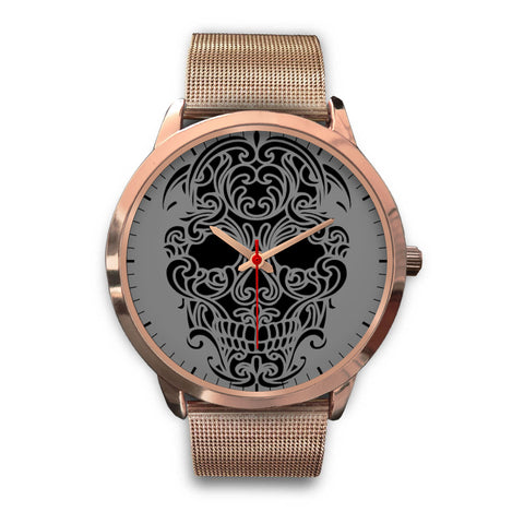 Sugar Skull Watch Rose Gold Mesh Band
