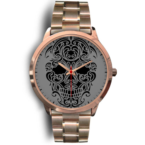 Sugar Skull Watch Rose Gold Metal Band