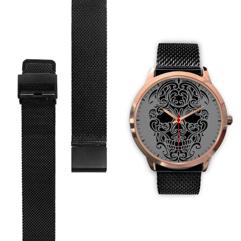 Sugar Skull Watch Black Mesh Band