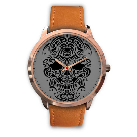 Sugar Skull Watch Brown Leather Band