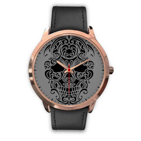Sugar Skull Watch Black Leather Band