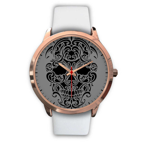Sugar Skull Watch White Leather Band