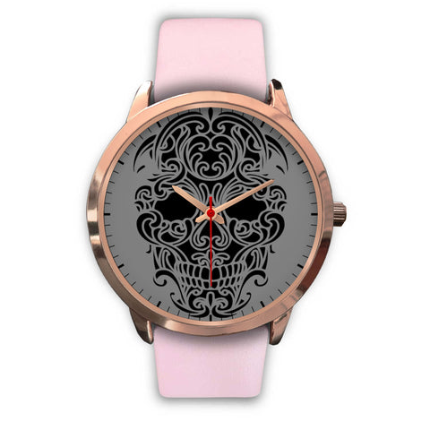 Sugar Skull Watch Pink Leather Band