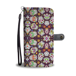 SUGAR SKULL PHONE WALLET CASE FOR MANY SMARTPHONES