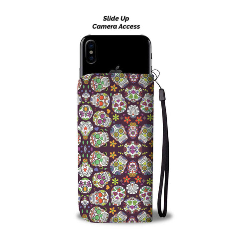 Image of SUGAR SKULL PHONE WALLET CASE - AVAILABLE FOR 50+ SMARTPHONES - Discount Patrol
