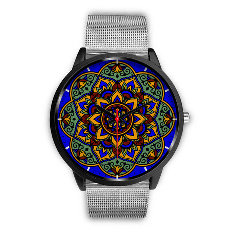 Colorful Boho Mandala Watch Silver Mesh
