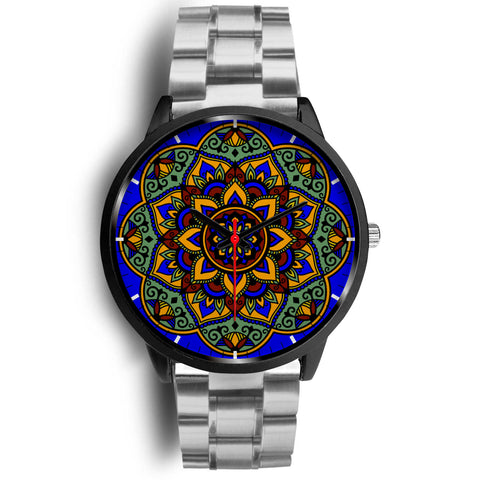 Colorful Boho Mandala Watch Silver Link