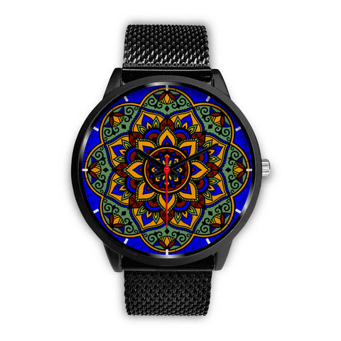 Colorful Boho Mandala Watch Black Mesh