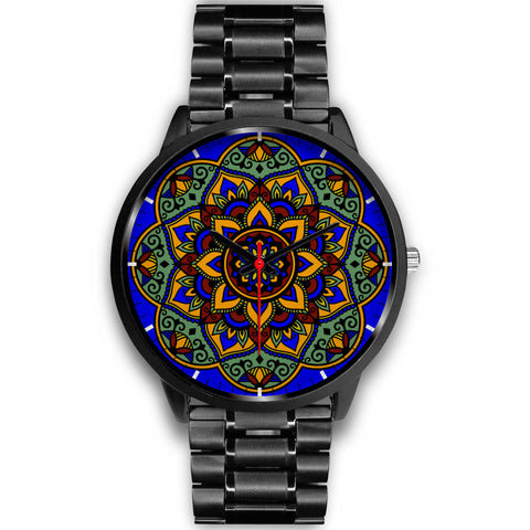 Colorful Boho Mandala Watch Black Link