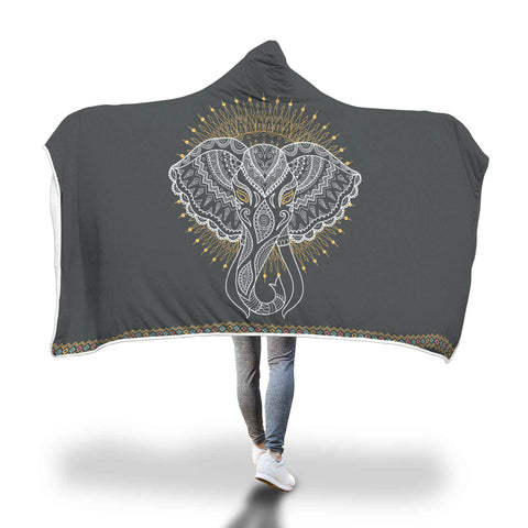 Mandala Elephant Hooded Blanket