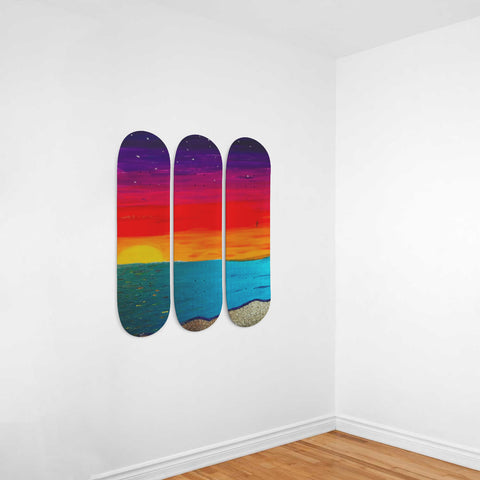 Image of Acrylic Sunset Beach Wall Art On Skateboard Deck - Discount Patrol