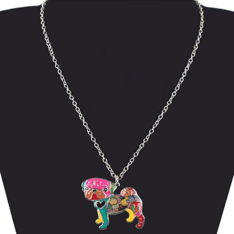 Image of Colorful Pug Dog Necklace