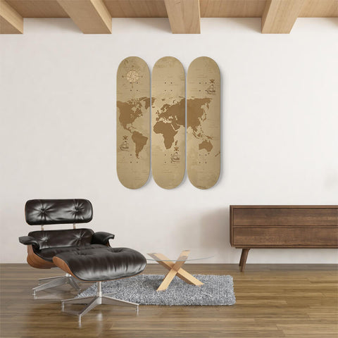 World Map Wall Art On Skateboard Deck - Discount Patrol