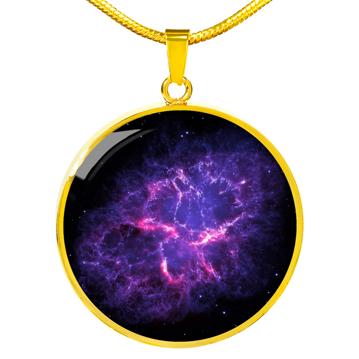 Gold Nebula Crab Space Galaxy Necklace