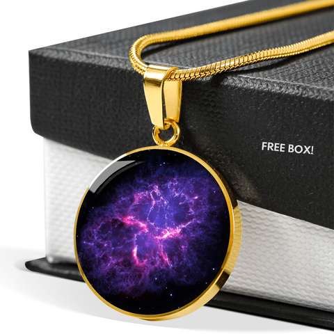 Nebula Crab Space Galaxy Gold Necklace