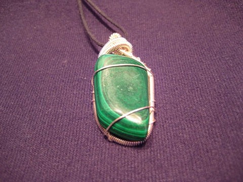 Handmade Wire Wrapped Malachite Pendant/Amulet